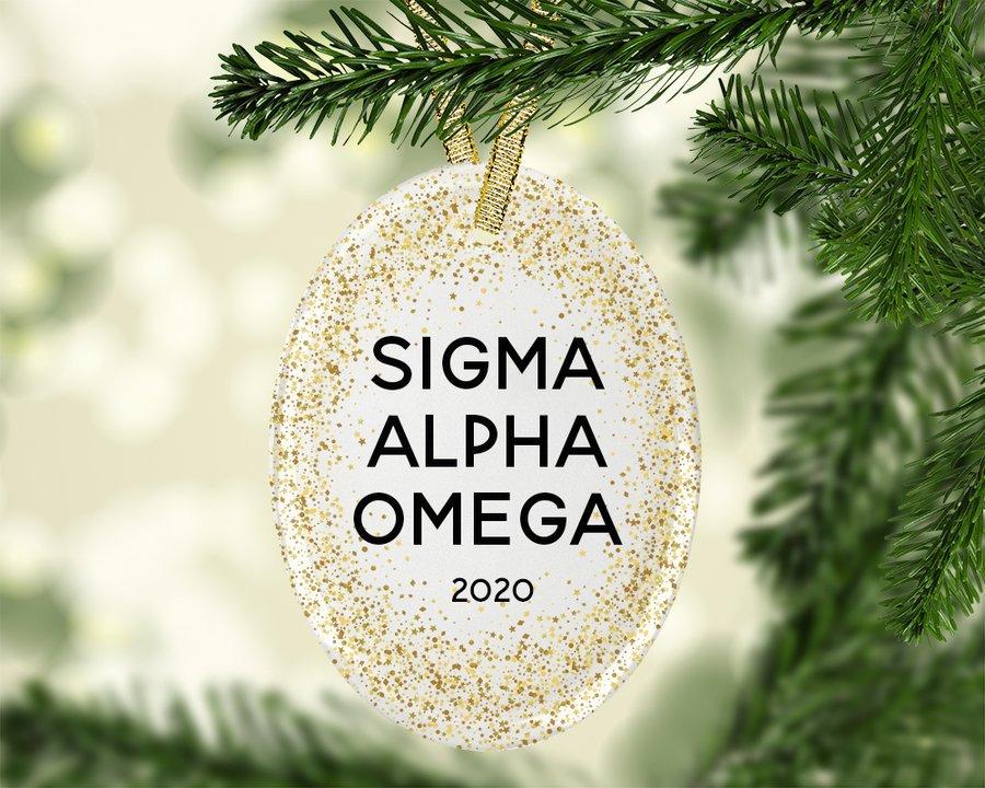Sigma Alpha Omega Gold Fleck Oval Ornament