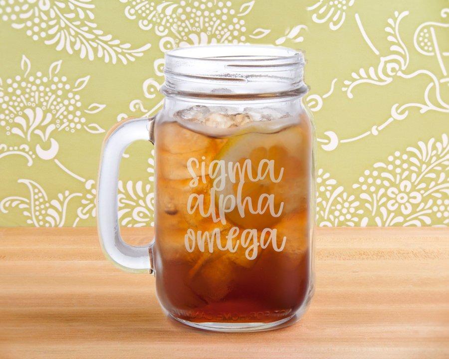 Sigma Alpha Omega Script Mason Jar Mug