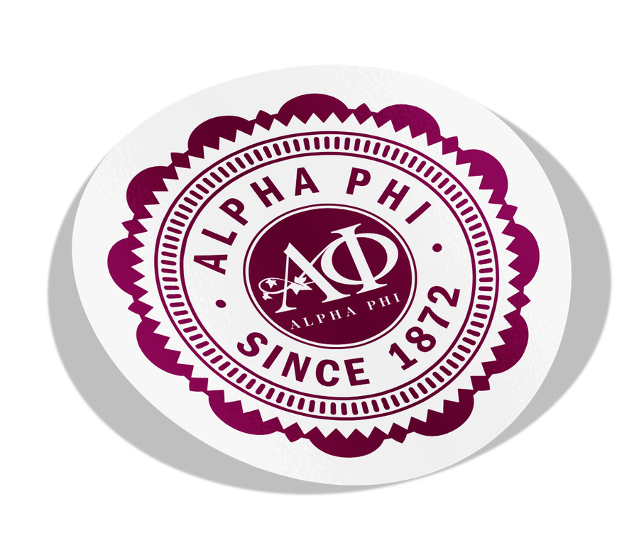 "Alpha Phi 5"" Sorority Seal Bumper Sticker"