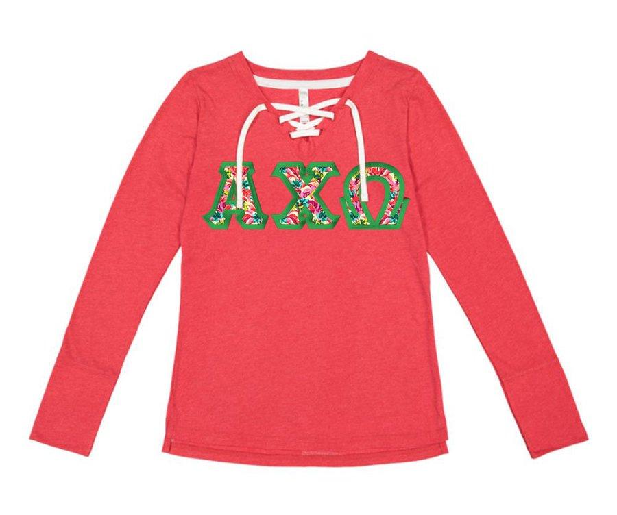 Alpha Chi Omega LAT - Sorority Fine Jersey Lace-Up Long Sleeve T-Shirt