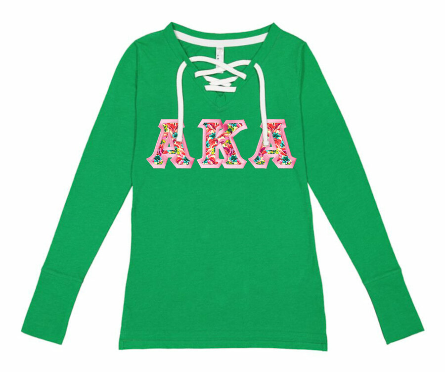 Alpha Kappa Alpha LAT - Sorority Fine Jersey Lace-Up Long Sleeve T-Shirt