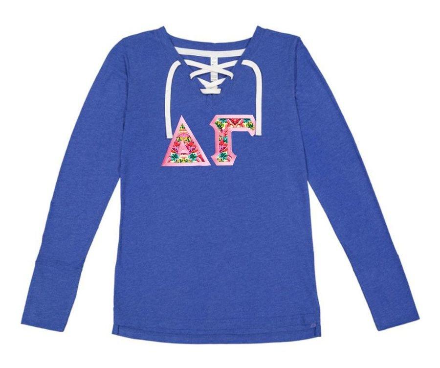 Delta Gamma LAT - Sorority Fine Jersey Lace-Up Long Sleeve T-Shirt