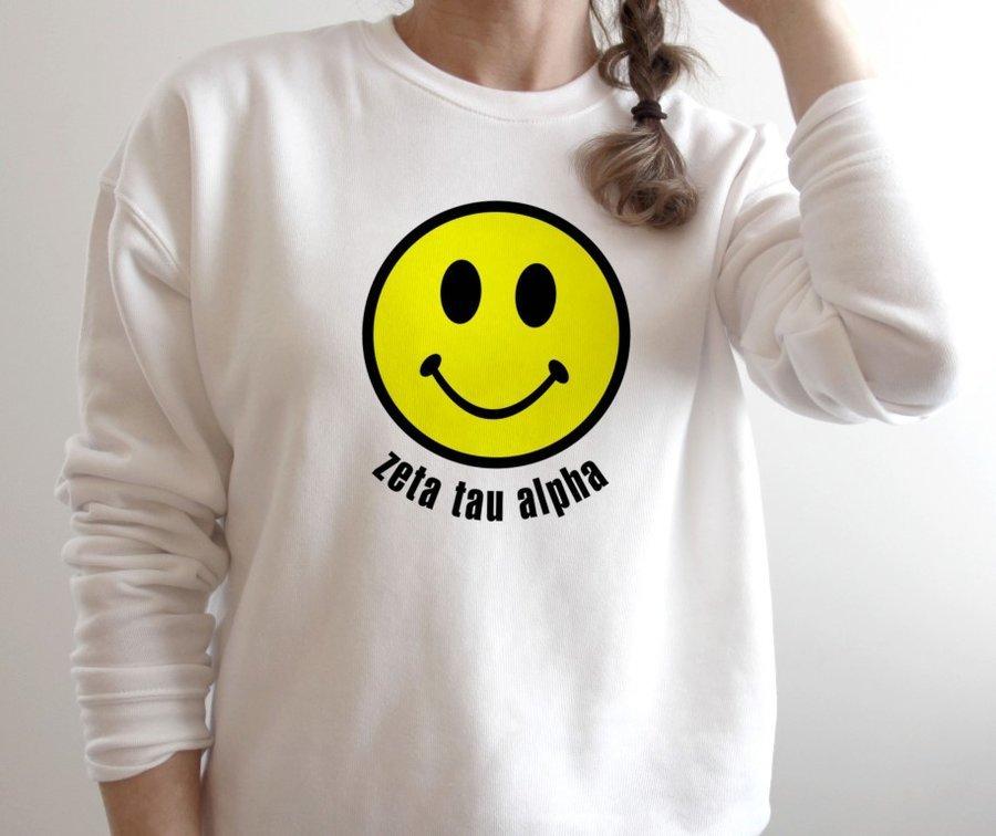 Zeta Tau Alpha Smiley Face Crewneck Sweatshirt