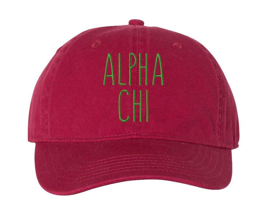 Alpha Chi Omega Mod Comfort Colors Pigment Dyed Baseball Cap