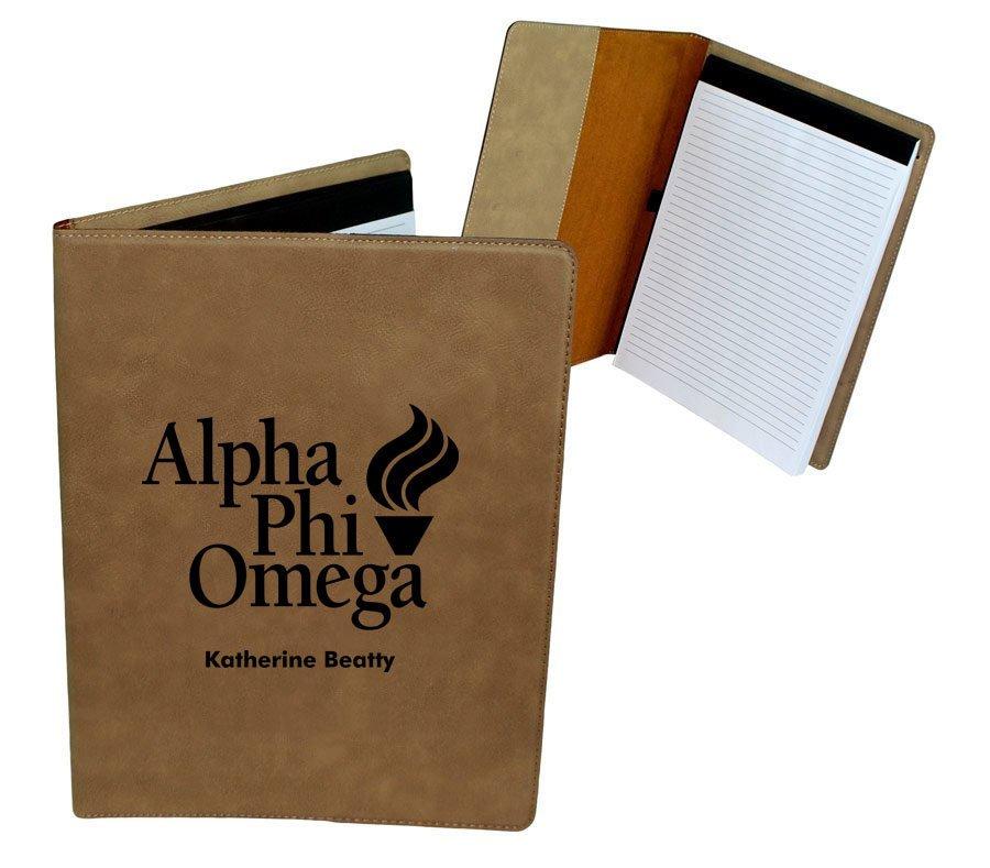 Alpha Phi Omega Leatherette Mascot Portfolio with Notepad