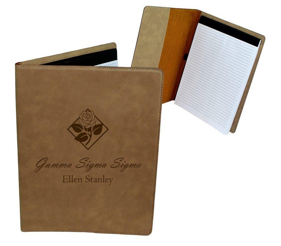 Gamma Sigma Sigma Mascot Leatherette Portfolio with Notepad