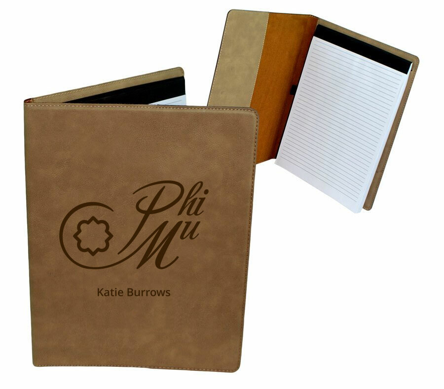 Phi Mu Mascot Leatherette Portfolio with Notepad
