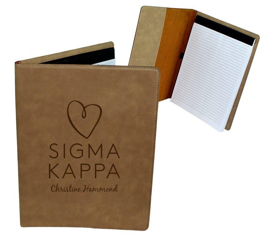 Sigma Kappa Mascot Leatherette Portfolio with Notepad