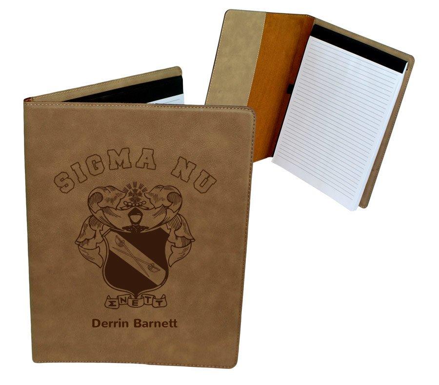 Sigma Nu Leatherette Portfolio with Notepad