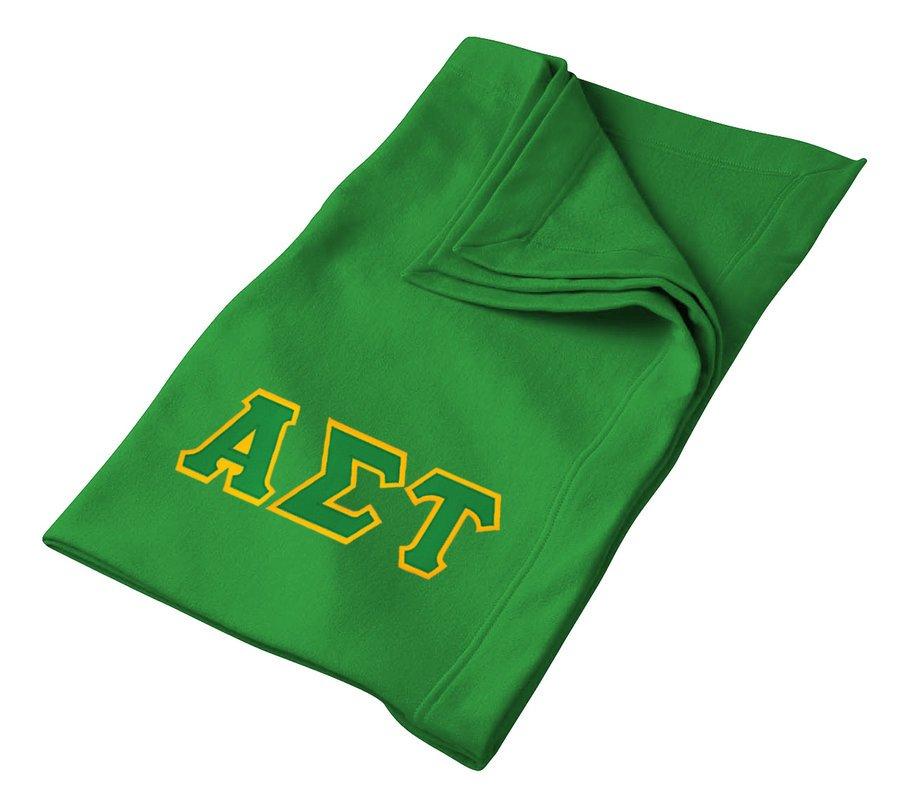 DISCOUNT-Alpha Sigma Tau Lettered Twill Sweatshirt Blanket