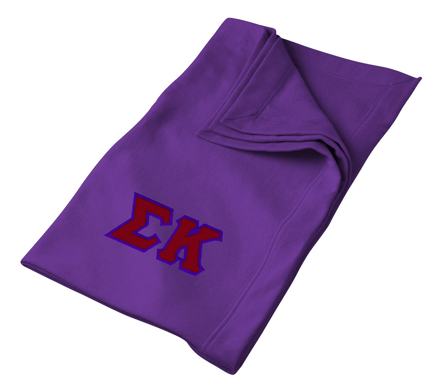 DISCOUNT-Sigma Kappa Lettered Twill Sweatshirt Blanket