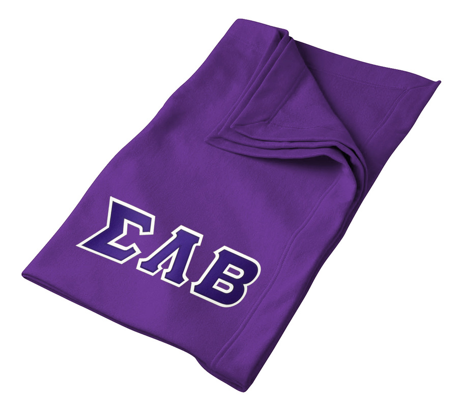 DISCOUNT-Sigma Lambda Beta Lettered Twill Sweatshirt Blanket
