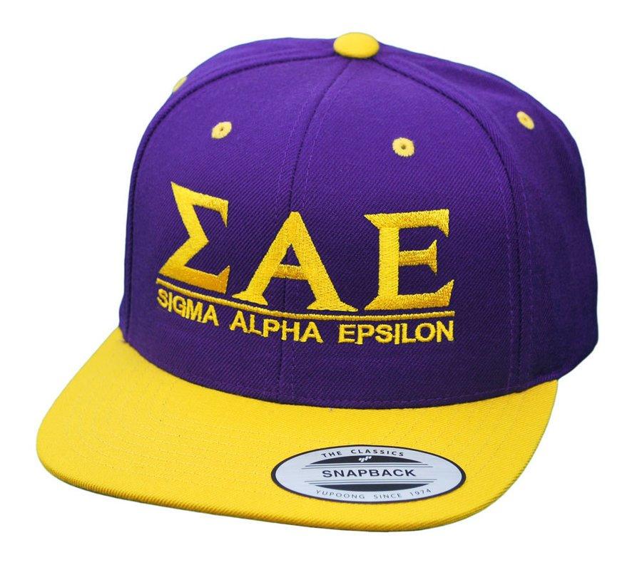 Sigma Alpha Epsilon Flatbill Snapback Hats Original