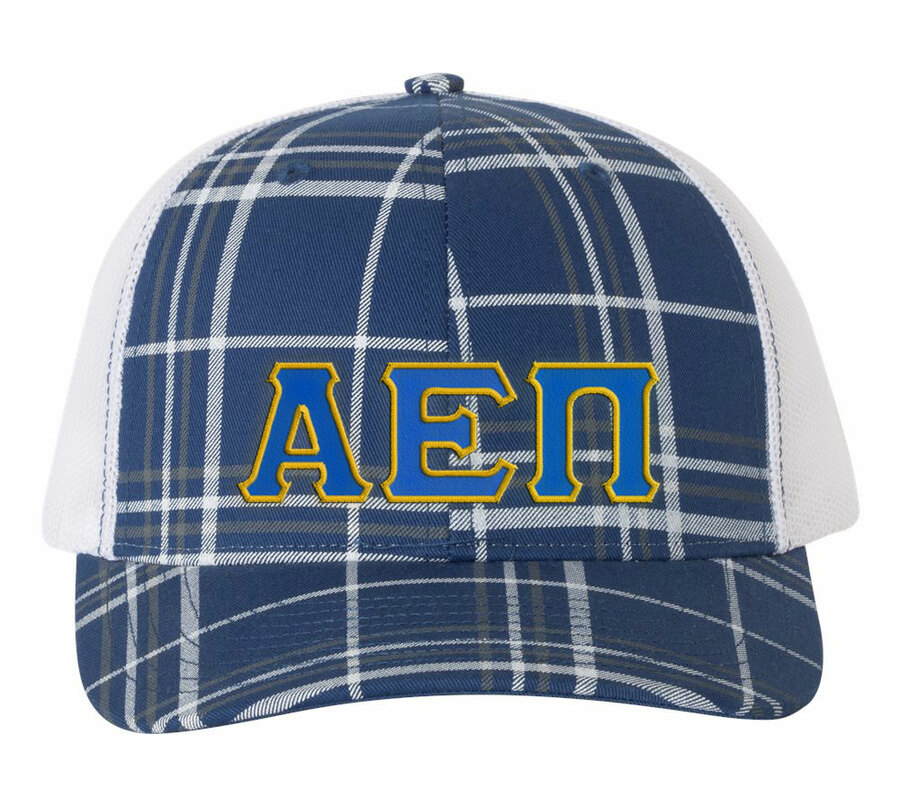 Alpha Epsilon Pi Plaid Snapback Trucker Hat - CLOSEOUT