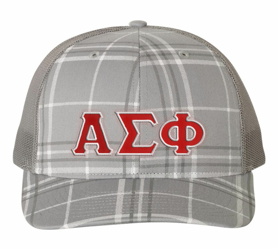Alpha Sigma Phi Plaid Snapback Trucker Hat - CLOSEOUT
