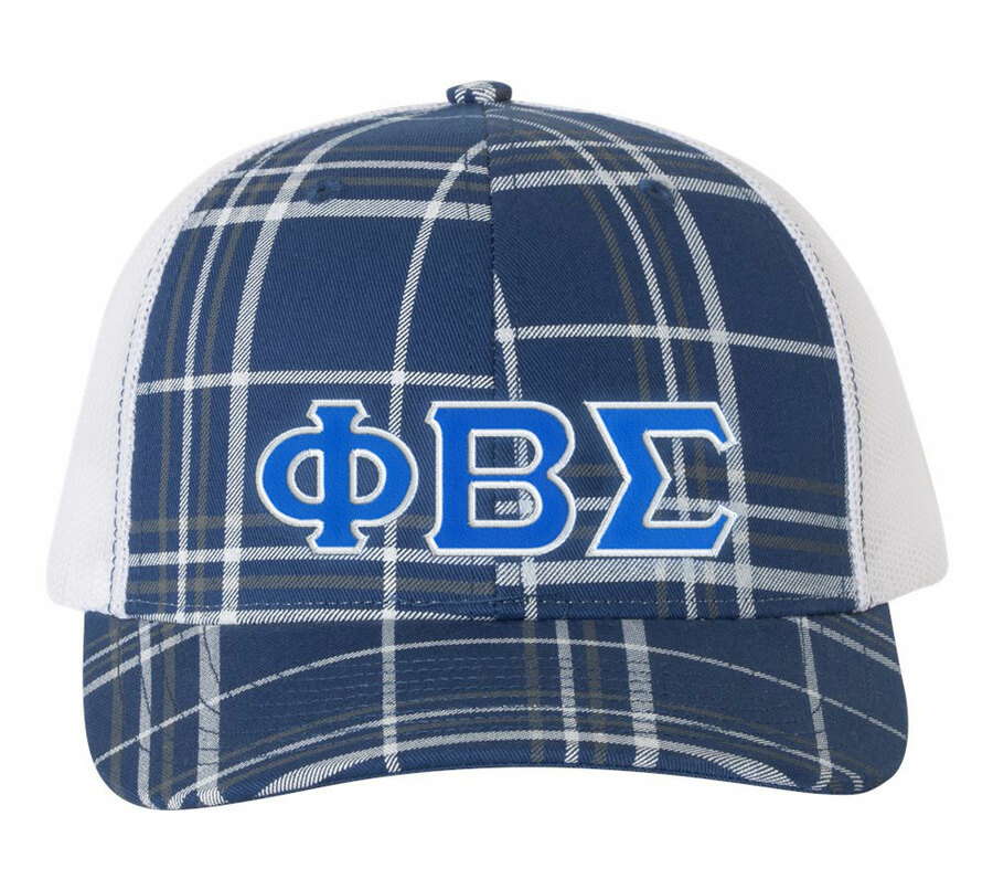 Phi Beta Sigma Plaid Snapback Trucker Hat - CLOSEOUT