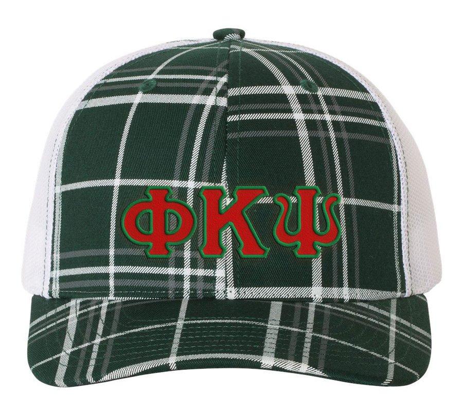 Phi Kappa Psi Plaid Snapback Trucker Hat - CLOSEOUT