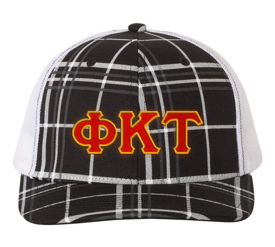 Phi Kappa Tau Plaid Snapback Trucker Hat - CLOSEOUT