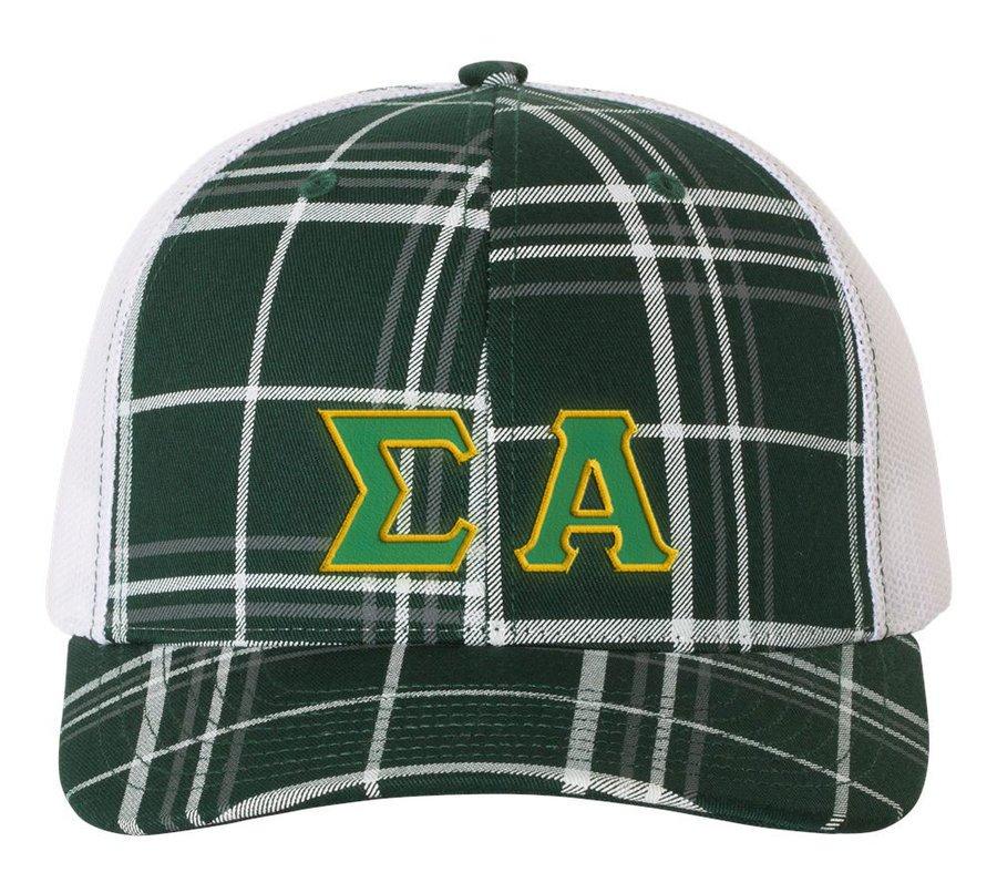 Sigma Alpha Plaid Snapback Trucker Hat - CLOSEOUT
