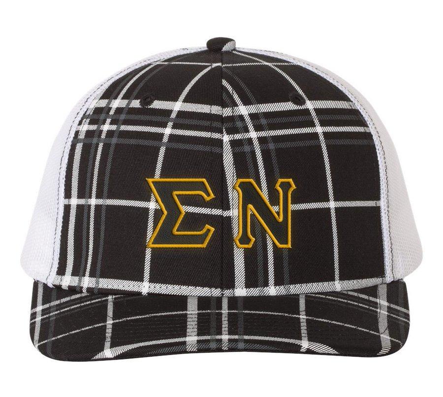 Sigma Nu Plaid Snapback Trucker Hat - CLOSEOUT