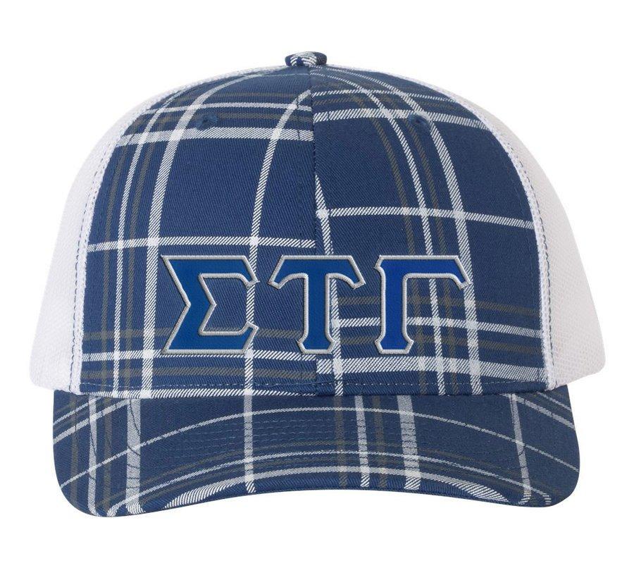 Sigma Tau Gamma Plaid Snapback Trucker Hat - CLOSEOUT