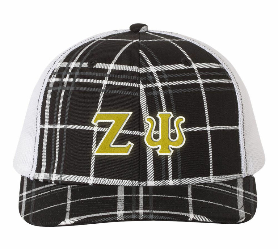Zeta Psi Plaid Snapback Trucker Hat - CLOSEOUT