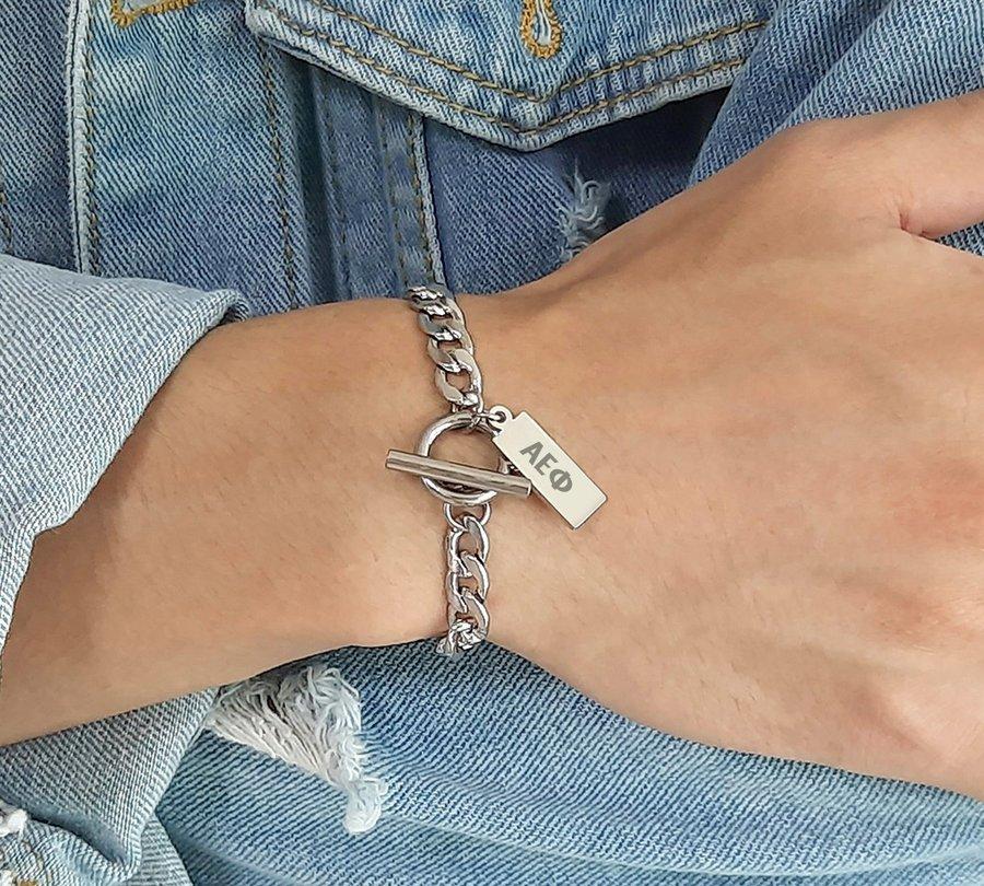 Alpha Epsilon Phi Letters Stainless Steel Tag Bracelet