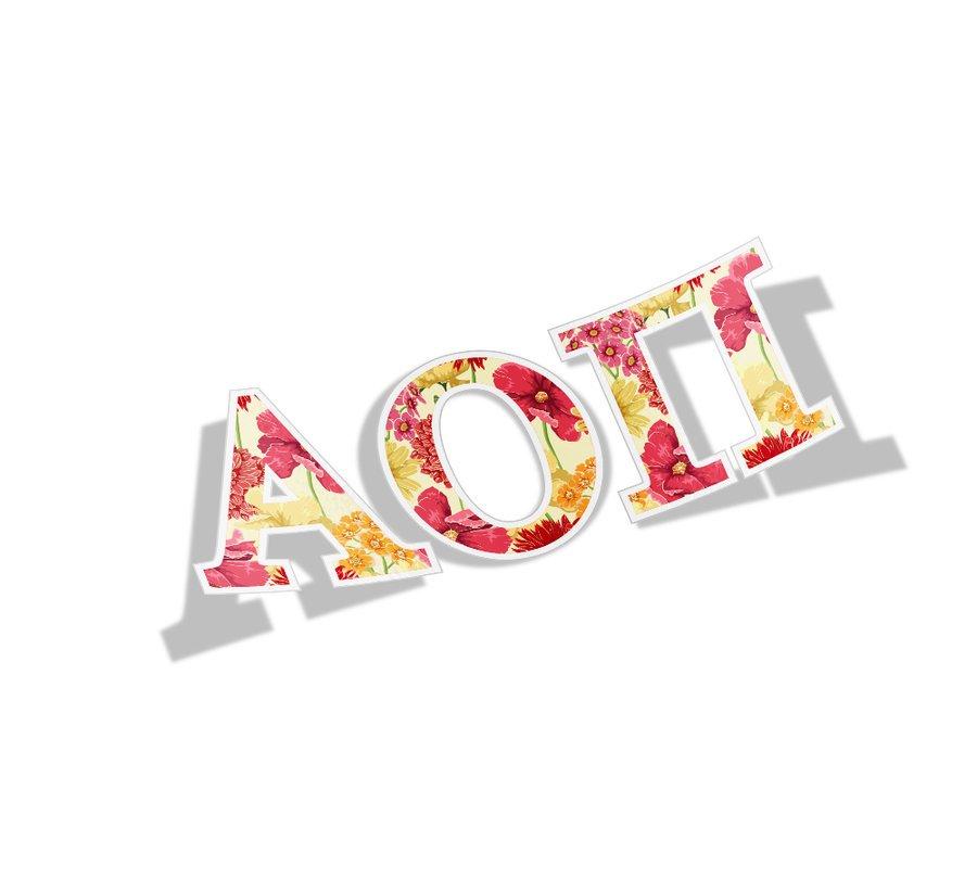 Alpha Omicron Pi Floral Greek Letter Sticker