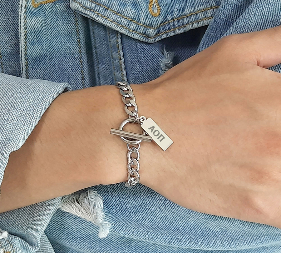 Alpha Omicron Pi Letters Stainless Steel Tag Bracelet