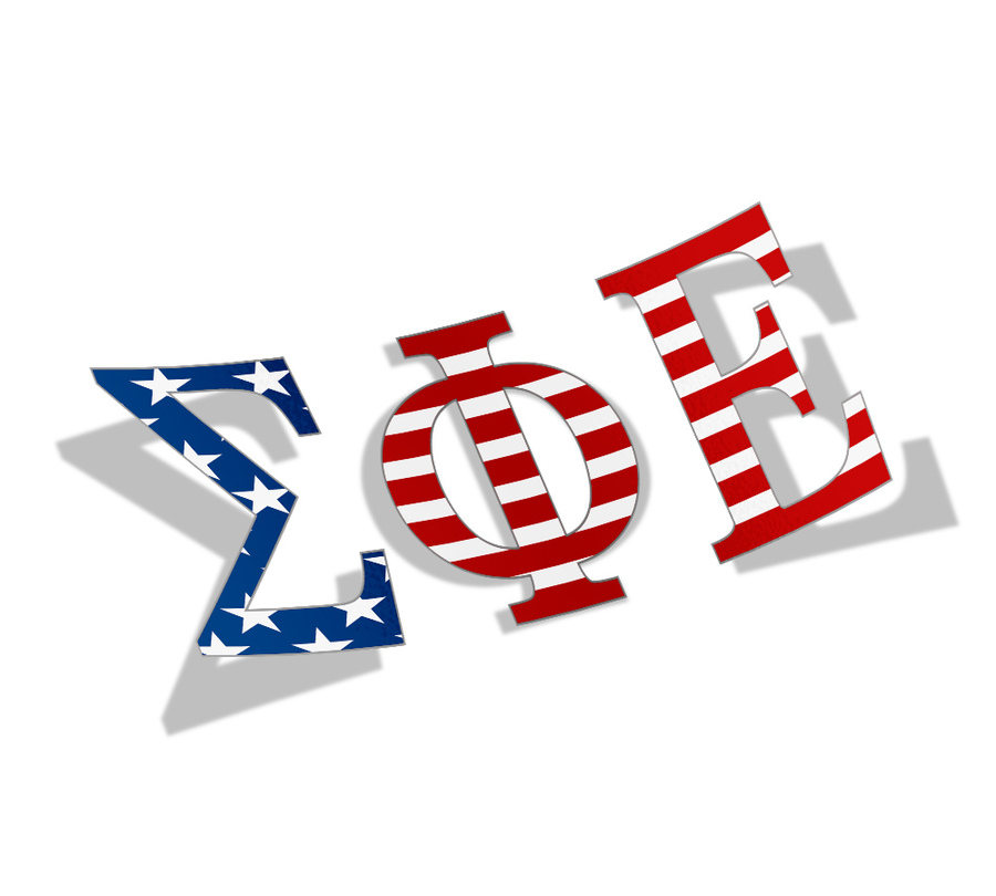 "Sigma Phi Epsilon American Flag Greek Letter Sticker - 2.5"" Tall"