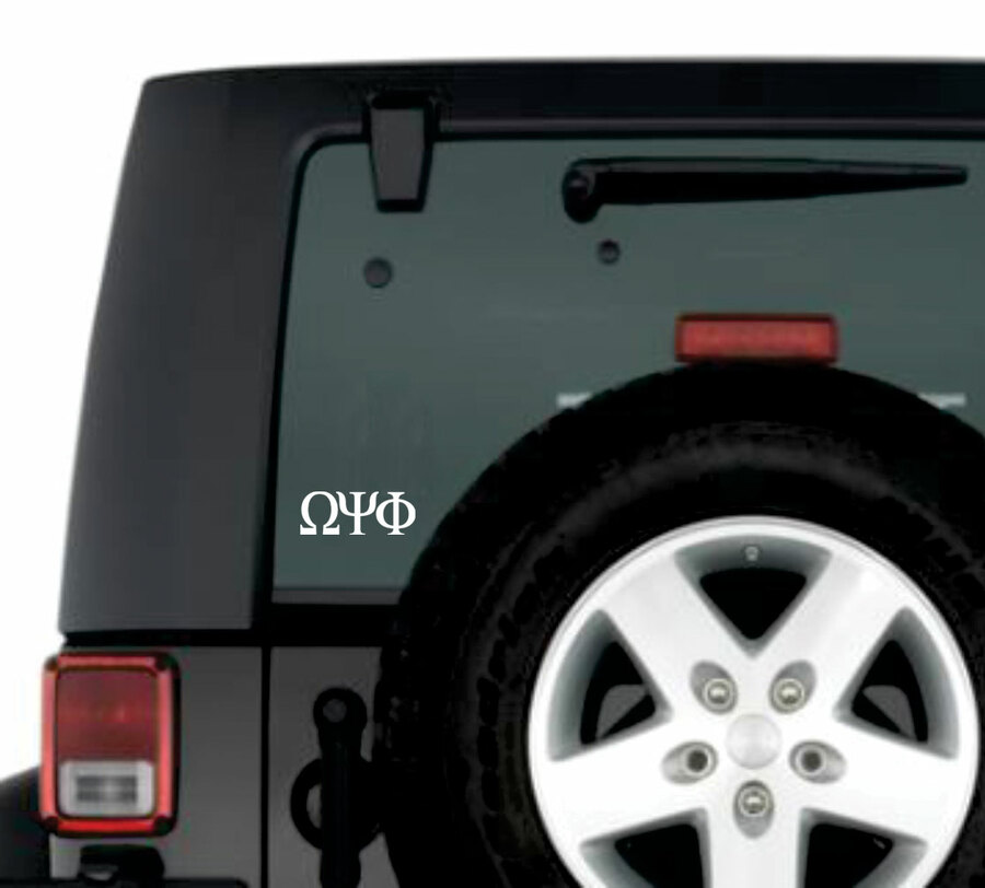 Omega Psi Phi Greek Letter Window Sticker Decal