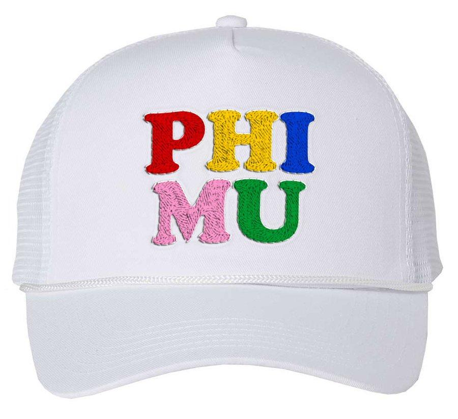 Phi Mu Rainbow Trucker Hat