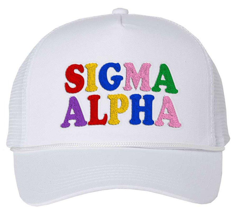 Sigma Alpha Rainbow Trucker Hat