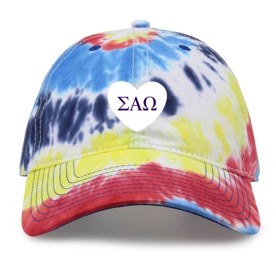 Sigma Alpha Omega Tye Die Heart Hat
