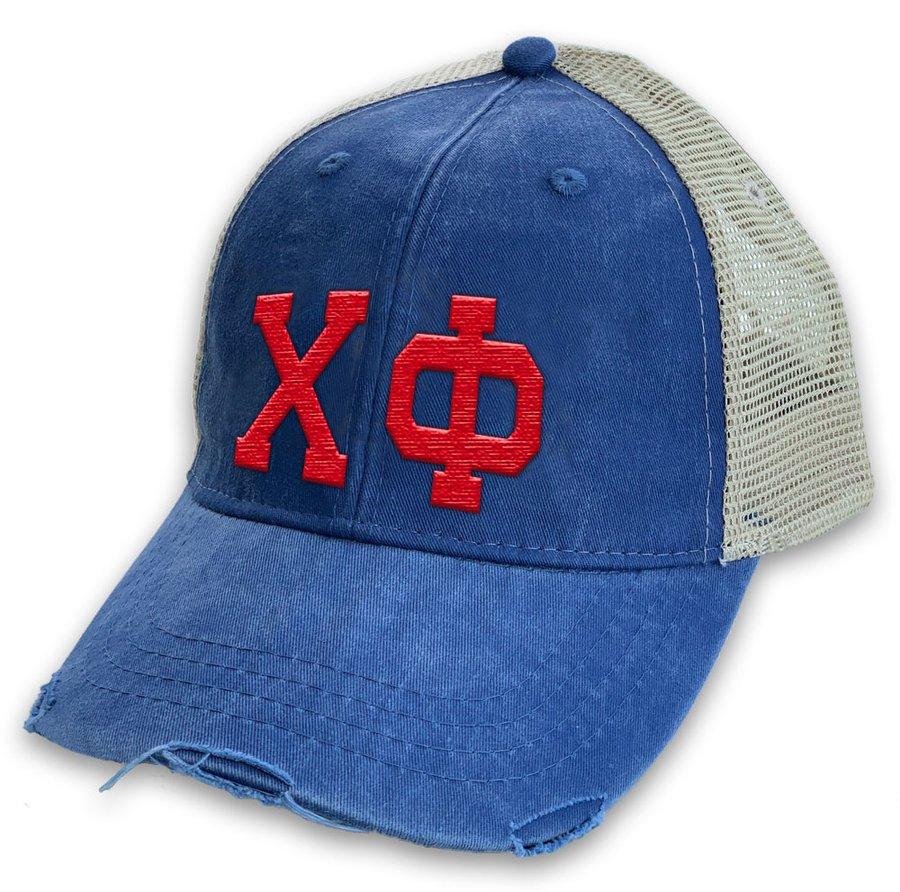Chi Phi Distressed Trucker Hat
