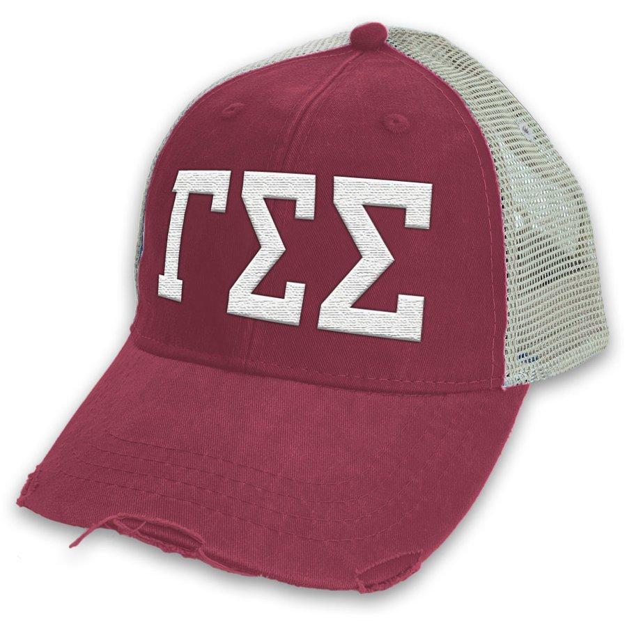 Gamma Sigma Sigma Distressed Trucker Hat