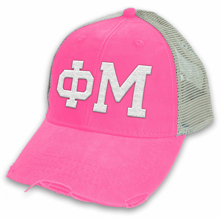 Phi Mu Distressed Trucker Hat