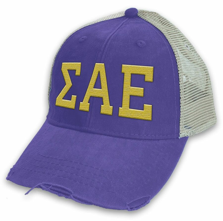Sigma Alpha Epsilon Distressed Trucker Hat