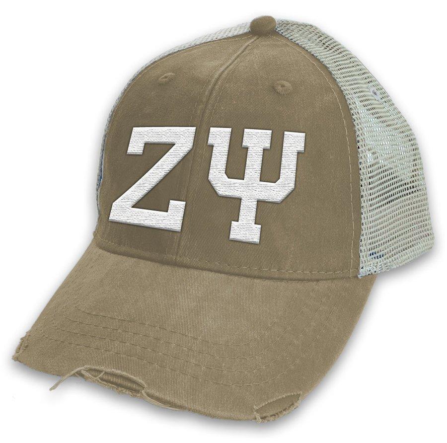 Zeta Psi Distressed Trucker Hat