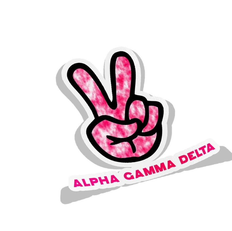 Alpha Gamma Delta Peace Hands Decal Sticker