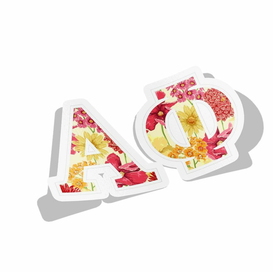 """Floral Sorority Greek Letter Sticker - 2.5"""" Tall"""