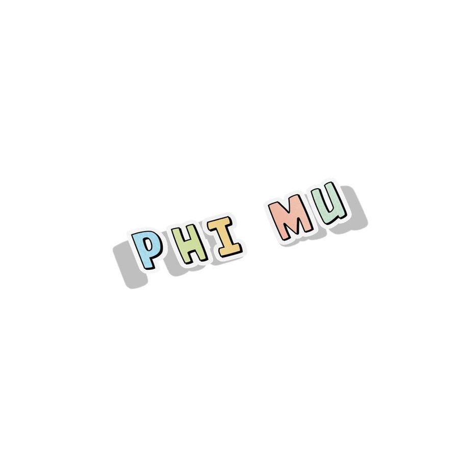 Phi Mu Cartoon Decal Sticker