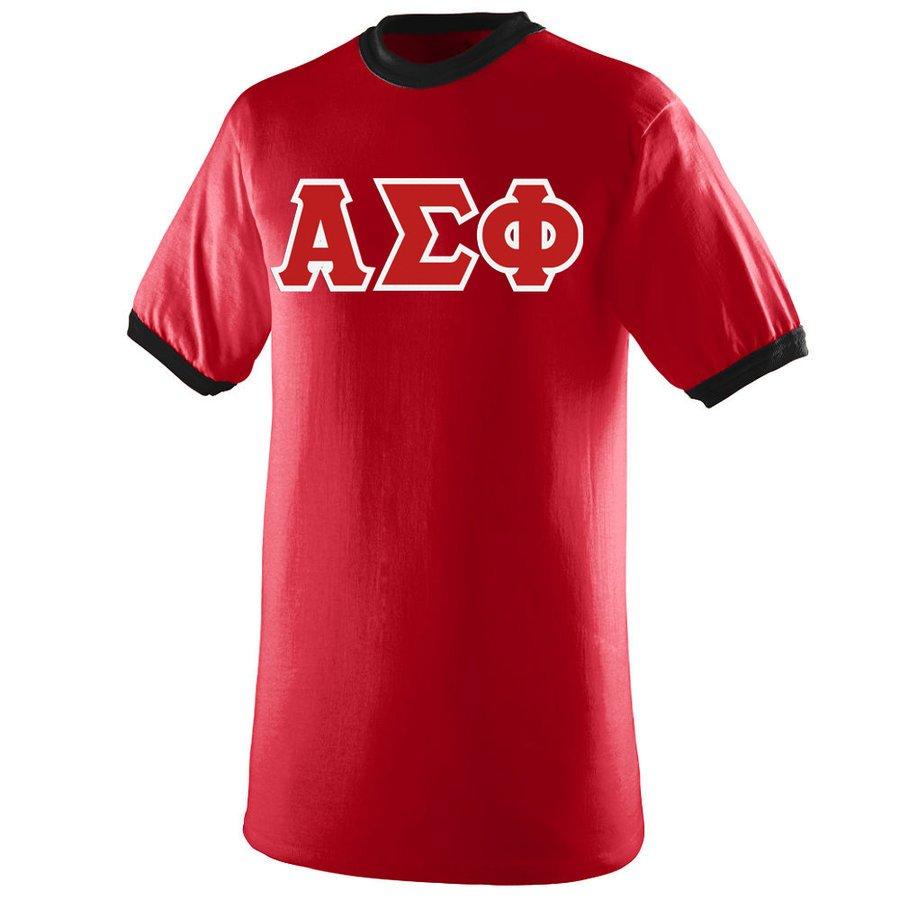 DISCOUNT- Alpha Sigma Phi Lettered Ringer Shirt