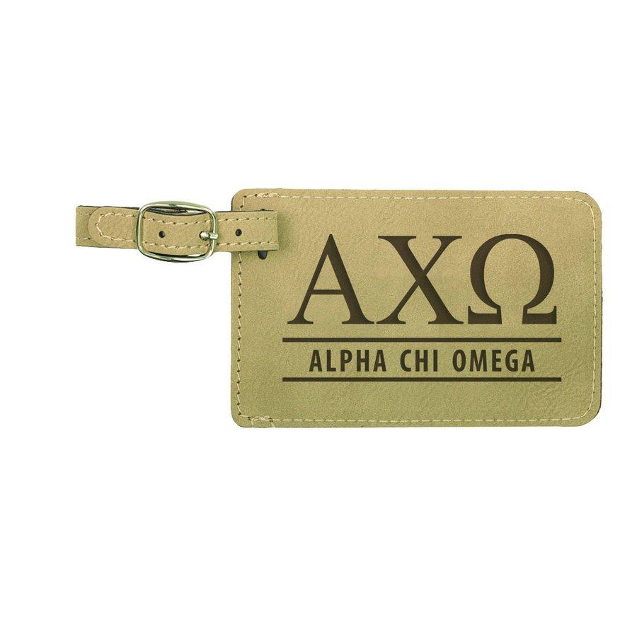 Alpha Chi Omega Leatherette Luggage Tag