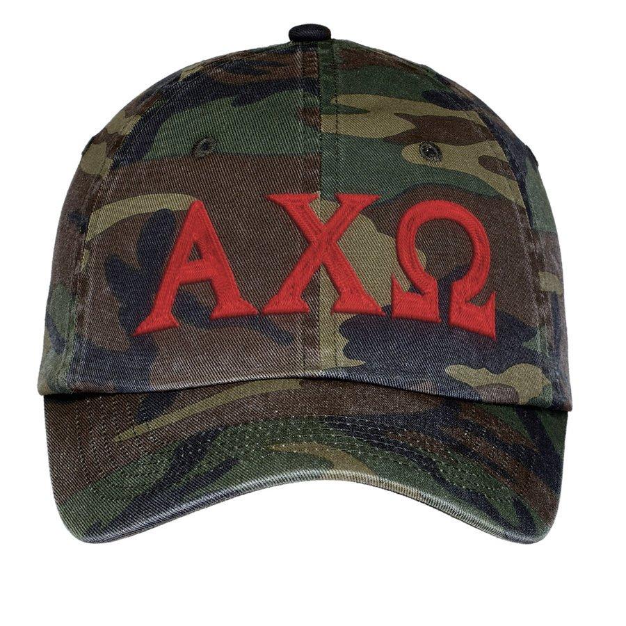 Alpha Chi Omega Lettered Camouflage Hat
