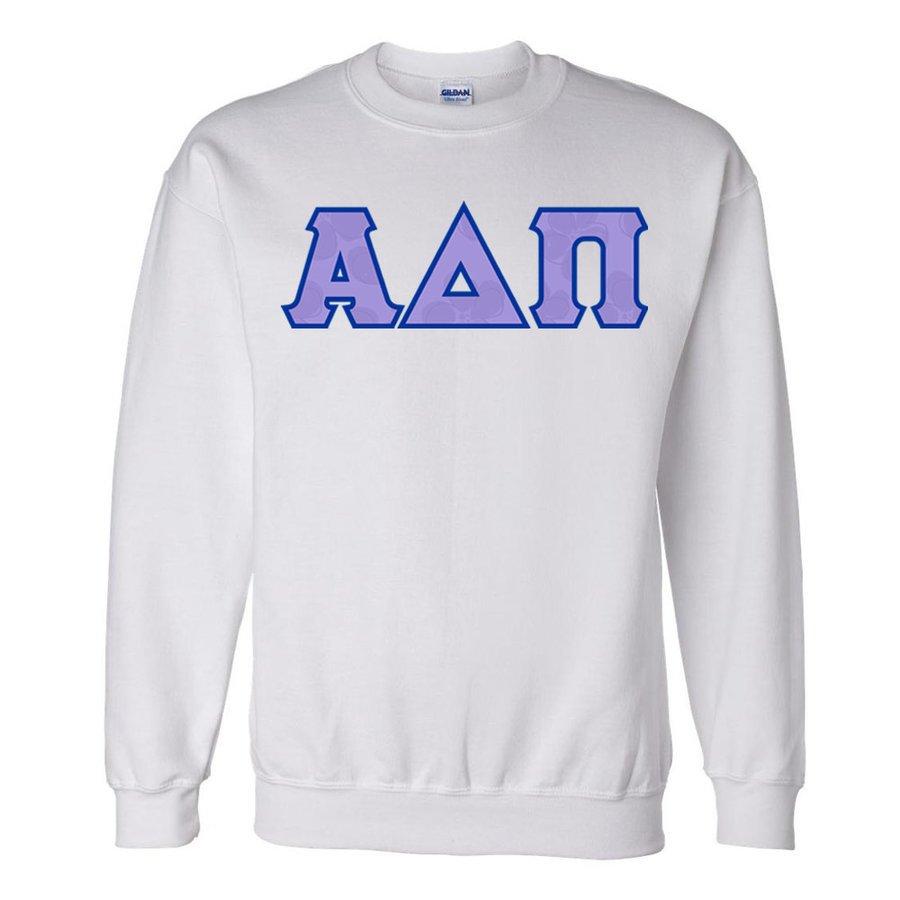 Alpha Delta Pi Official Violet Pattern Greek Lettered Crewneck Sweatshirt