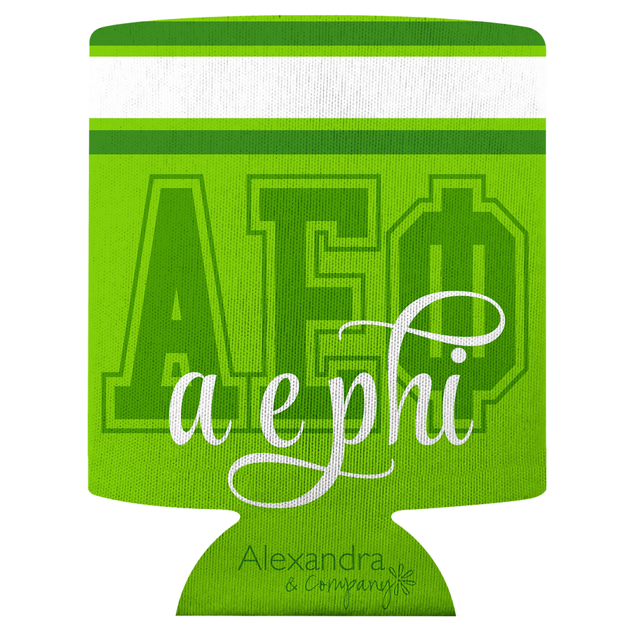 Alpha Epsilon Phi Striped Can Cooler