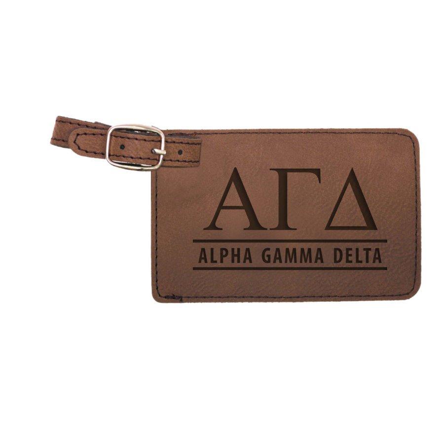 Alpha Gamma Delta Leatherette Luggage Tag