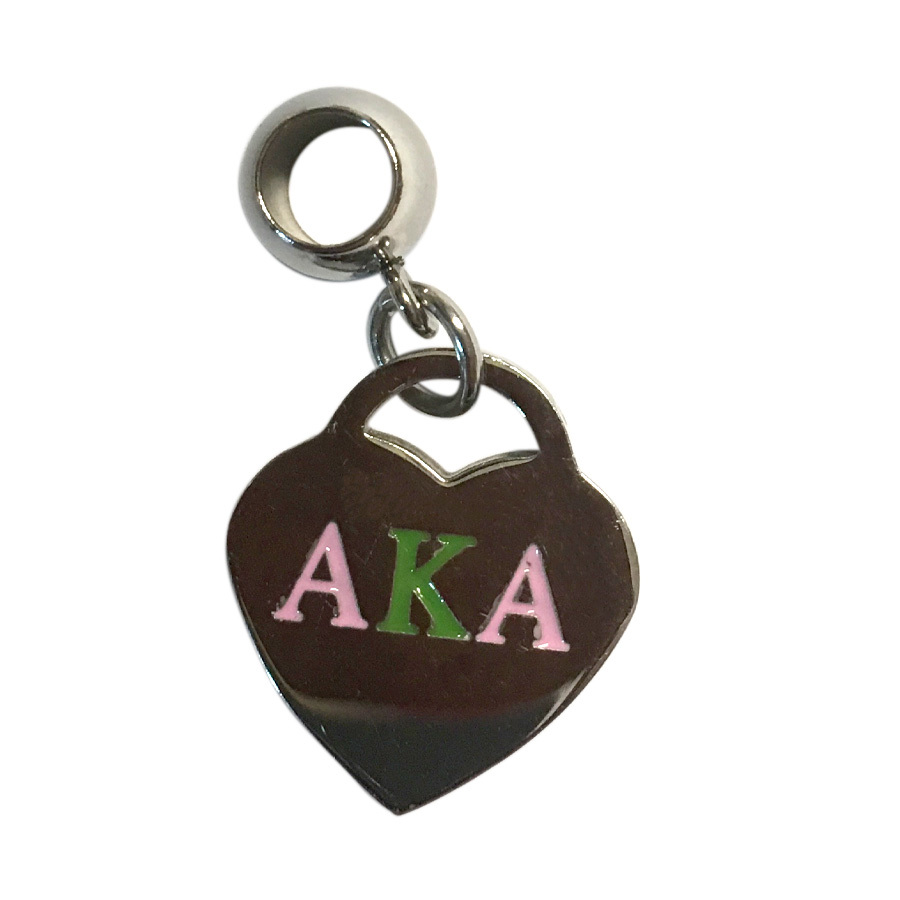 Alpha Kappa Alpha Color Filled Stainless Heart Charm Necklace - ON SALE!