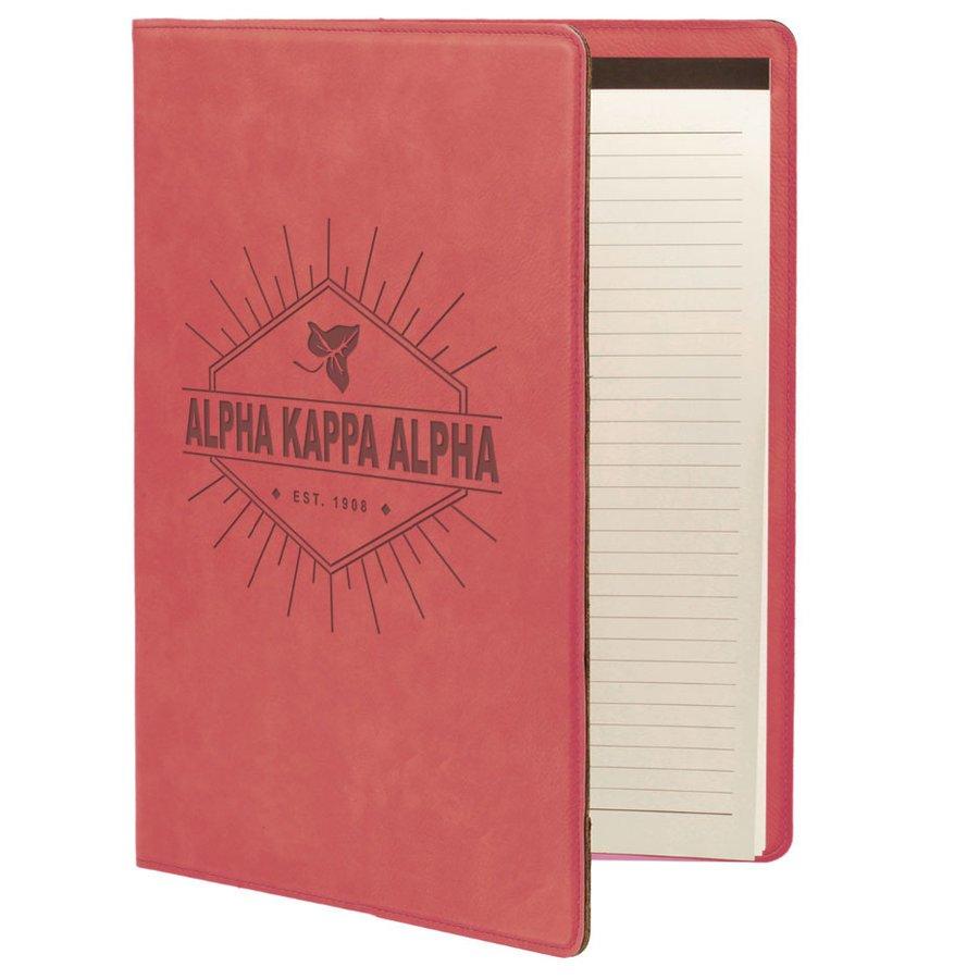 Alpha Kappa Alpha Leatherette Mascot Portfolio with Notepad